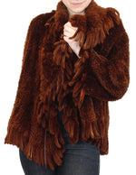 MEDIUM RUST BROWN WOVEN BEAVER FUR JACKET WITH FRINGE - from THE REAL FUR DEAL & DAVID APPEL FURS new and pre-owned online fur store!