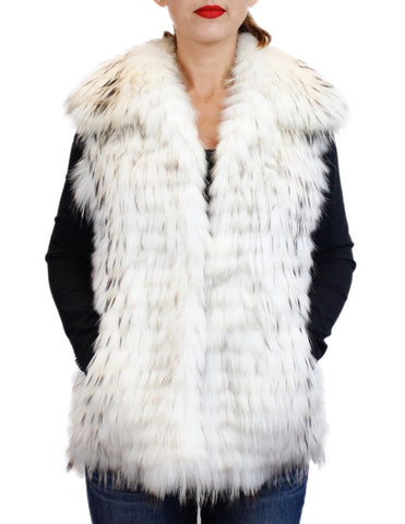 WHITE FEATHERY LAYERED RACCOON FUR VEST - from THE REAL FUR DEAL & DAVID APPEL FURS new and pre-owned online fur store!