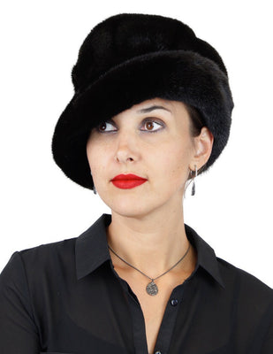 BLACK GLAMA MINK FUR SEMI-STRUCTURED, PLAYFUL BRIM HAT - from THE REAL FUR DEAL & DAVID APPEL FURS new and pre-owned online fur store!