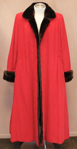PRE-OWNED LARGE RED SILK COAT, LINED WITH SOFT NUTRIA FUR! LONG, ELEGANT STYLE! - from THE REAL FUR DEAL & DAVID APPEL FURS new and pre-owned online fur store!