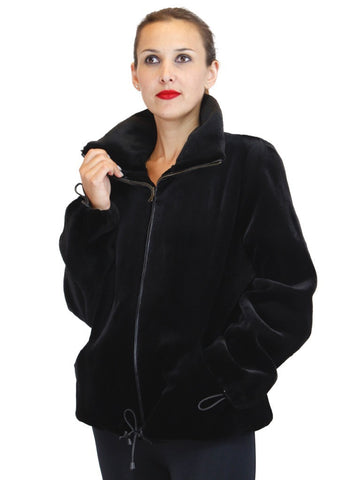 REVERSIBLE BLACK SHEARED MINK & UNSHEARED BLACK GLAMA MINK FUR BOMBER/SPORTS JACKET - from THE REAL FUR DEAL & DAVID APPEL FURS new and pre-owned online fur store!