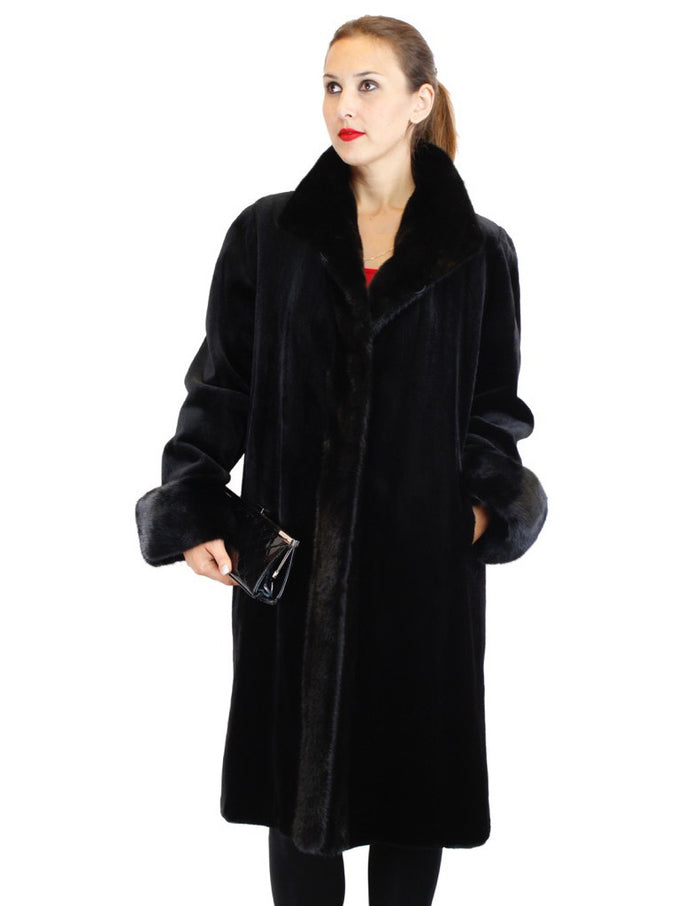 <b>REVERSIBLE</b> FULLY LET OUT BLACK SHEARED MINK & UNSHEARED BLACK GLAMA MINK FUR 7/8 COAT - from THE REAL FUR DEAL & DAVID APPEL FURS new and pre-owned online fur store!