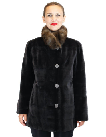 REVERSIBLE DARK BROWN SHEARED KOLINSKY MINK FUR JACKET W/ RUSSIAN SABLE FUR COLLAR - from THE REAL FUR DEAL & DAVID APPEL FURS new and pre-owned online fur store!