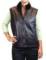 <b>REVERSIBLE</b> DARK BROWN SHEARED MINK FUR & LAMB LEATHER VEST - from THE REAL FUR DEAL & DAVID APPEL FURS new and pre-owned online fur store!