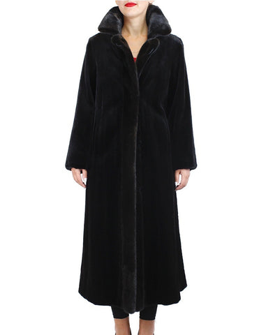 REVERSIBLE SHEARED & UNSHEARED FULLY LET OUT FEMALE MINK FUR LONG COAT - from THE REAL FUR DEAL & DAVID APPEL FURS new and pre-owned online fur store!
