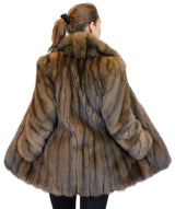 NATURAL RUSSIAN BARGUZIN SABLE FUR JACKET W/ DIAGONAL SLEEVES, CLASSIC DESIGN - from THE REAL FUR DEAL & DAVID APPEL FURS new and pre-owned online fur store!