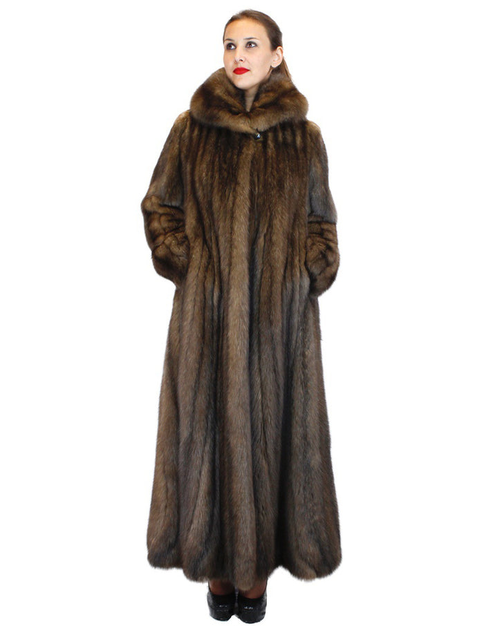 NATURAL ROYAL BARGUZIN RUSSIAN SABLE FUR EXTRA LONG COAT WITH FLARED TRUMPET BOTTOM - from THE REAL FUR DEAL & DAVID APPEL FURS new and pre-owned online fur store!