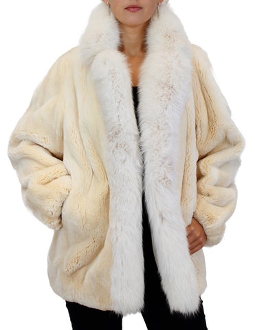 PRE-OWNED MEDIUM/LARGE OSCAR DE LA RENTA SHEARED BEAVER FUR JACKET w/ FOX FUR TRIM