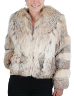 PRE-OWNED SMALL CANADIAN LYNX FUR BOLERO JACKET WITH BELLY FUR ACCENTS