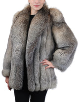 PRE-OWNED MEDIUM SILVER BLUE FOX FUR JACKET, COAT - LIKE NEW! THICK FUR! - from THE REAL FUR DEAL & DAVID APPEL FURS new and pre-owned online fur store!