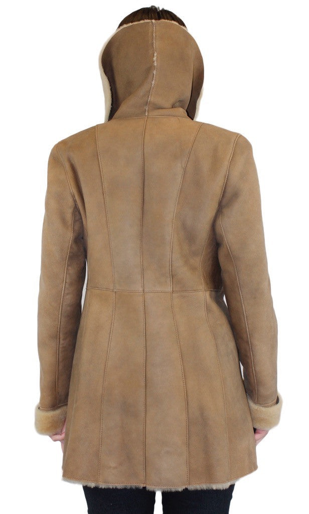 Blue Duck Small Beige Fitted Raw Edge Shearling Coat