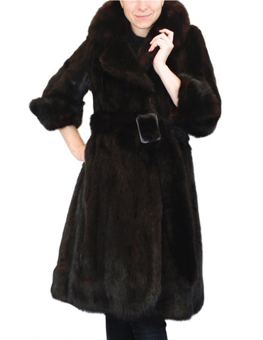 PRE-OWNED SMALL BLACK/BROWN FITTED SABLE FUR COAT & BELT