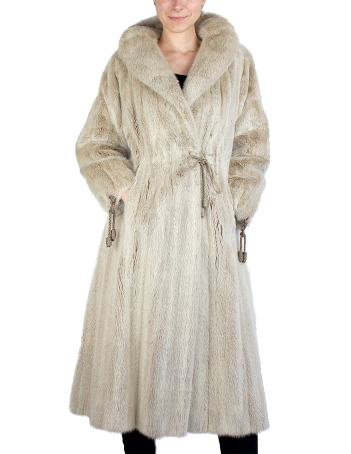 PRE-OWNED SMALL, UNIQUE BLUSH DYED MINK FUR COAT WITH MATCHING ROPE TIES! - from THE REAL FUR DEAL & DAVID APPEL FURS new and pre-owned online fur store!