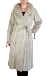 PRE-OWNED SMALL, UNIQUE BLUSH DYED MINK FUR COAT WITH MATCHING ROPE TIES!