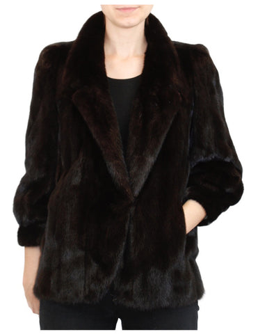 PRE-OWNED SMALL DARK BROWN BLACK FEMALE MINK FUR JACKET - INCREDIBLE FUR!