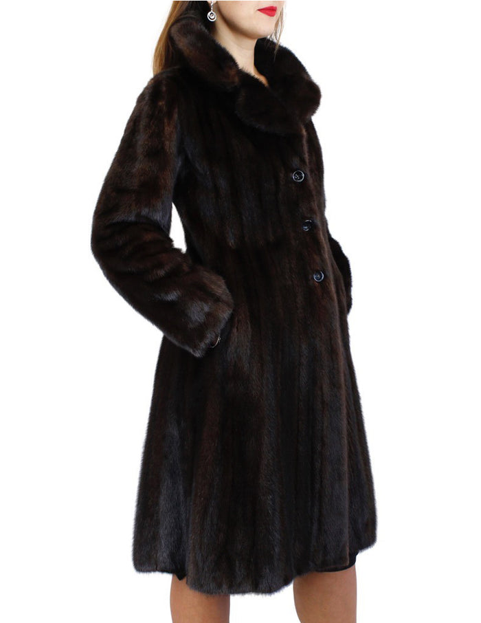 PRE-OWNED SMALL FITTED NATURAL DARK BROWN RANCH MINK FUR 7/8 COAT - from THE REAL FUR DEAL & DAVID APPEL FURS new and pre-owned online fur store!