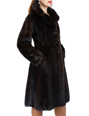 PRE-OWNED SMALL FITTED NATURAL DARK BROWN RANCH MINK FUR 7/8 COAT