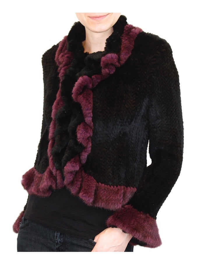 SMALL/MEDIUM BLACK & PURPLE WOVEN REX RABBIT FUR & MINK FUR JACKET - from THE REAL FUR DEAL & DAVID APPEL FURS new and pre-owned online fur store!