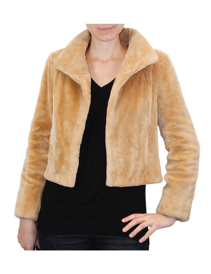 SMALL/MEDIUM BUTTERSCOTCH SHEARED BEAVER FUR BOLERO JACKET - from THE REAL FUR DEAL & DAVID APPEL FURS new and pre-owned online fur store!
