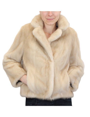 PRE-OWNED SMALL/MEDIUM DARK TOURMALINE MINK FUR JACKET - BRAND NEW LINING!