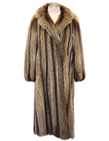 PRE-OWNED SMALL/MEDIUM RACCOON FUR COAT - BEAUTIFUL STRIPES!