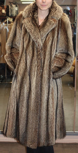 PRE-OWNED SMALL/MEDIUM RACCOON FUR COAT - BEAUTIFUL STRIPES! - from THE REAL FUR DEAL & DAVID APPEL FURS new and pre-owned online fur store!