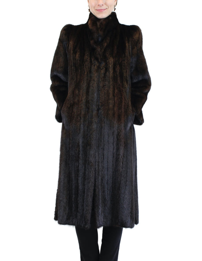 PRE-OWNED SMALL NATURAL DARK BROWN MINK FUR COAT, FULLY LET OUT, CUTE STYLE! - from THE REAL FUR DEAL & DAVID APPEL FURS new and pre-owned online fur store!