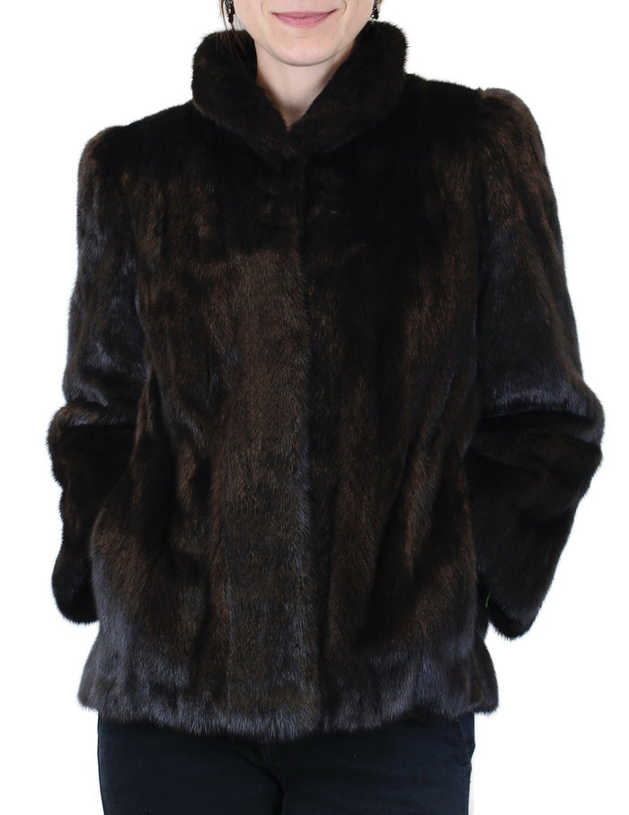 PRE-OWNED <B>REVILLON/SAKS FIFTH AVENUE</B> FEMALE RANCH MINK FUR JACKET - DARK BROWN/BLACK - from THE REAL FUR DEAL & DAVID APPEL FURS new and pre-owned online fur store!