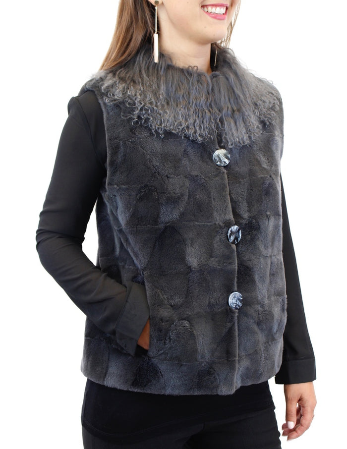 STEEL GRAY TEXTURED SHEARED MINK FUR VEST WITH MONGOLIAN LAMB COLLAR - from THE REAL FUR DEAL & DAVID APPEL FURS new and pre-owned online fur store!