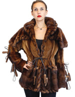 WILD STYLE TOFFEE BROWN MINK FUR SEMI-SHEARED EXOTIC JACKET W/ REMOVABLE CAPE COLLAR - from THE REAL FUR DEAL & DAVID APPEL FURS new and pre-owned online fur store!