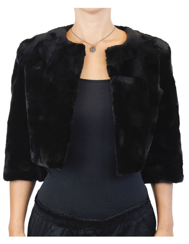 BLACK TEXTURED SHEARED MINK FUR SECTIONS SHORT BOLERO JACKET - from THE REAL FUR DEAL & DAVID APPEL FURS new and pre-owned online fur store!