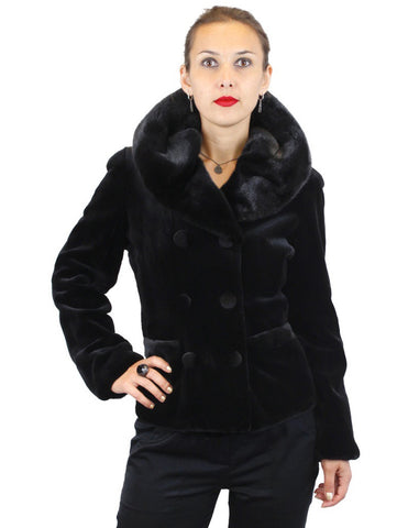 BLACK SHEARED MINK FUR FITTED DOUBLE-BREASTED JACKET W/ UNSHEARED BLACK GLAMA MINK COLLAR - from THE REAL FUR DEAL & DAVID APPEL FURS new and pre-owned online fur store!