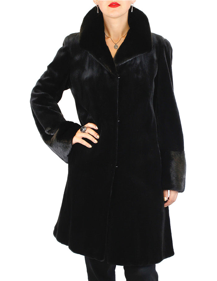 FULLY LET OUT BLACK SHEARED MINK & UNSHEARED BLACK GLAMA MINK FUR 7/8 COAT - from THE REAL FUR DEAL & DAVID APPEL FURS new and pre-owned online fur store!