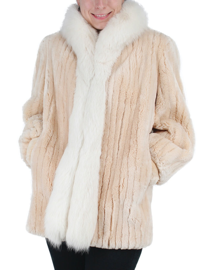 PRE-OWNED MEDIUM/LARGE DESIGNER BEIGE SHEARED BEAVER FUR JACKET WITH FOX FUR TRIM - from THE REAL FUR DEAL & DAVID APPEL FURS new and pre-owned online fur store!