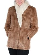 PRE-OWNED SMALL/PETITE TAN SHEARED BEAVER FUR JACKET WITH FOX FUR COLLAR, CORDUROY CUT - from THE REAL FUR DEAL & DAVID APPEL FURS new and pre-owned online fur store!