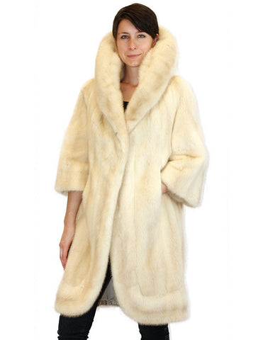 PRE-OWNED LARGE VINTAGE TOURMALINE MINK FUR COAT - HUGE COLLAR, ¾ SLEEVES! - from THE REAL FUR DEAL & DAVID APPEL FURS new and pre-owned online fur store!