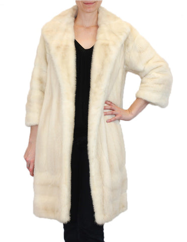 PRE-OWNED MEDIUM/LARGE LIGHT BEIGE TOURMALINE MINK FUR COAT! VERTICAL & HORIZONTAL - from THE REAL FUR DEAL & DAVID APPEL FURS new and pre-owned online fur store!