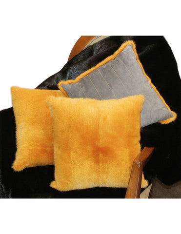 MINK FUR & SUEDE LEATHER PILLOW