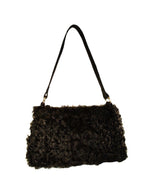 BLACK MONGOLIAN LAMB FUR & LEATHER SHOULDER BAG, PURSE - from THE REAL FUR DEAL & DAVID APPEL FURS new and pre-owned online fur store!