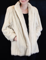 PRE-OWNED MEDIUM <b>BULLOCK'S</b> VIOLET AZURINE MINK FUR JACKET WITH FUR BUTTONS & ¾ SLEEVES! - from THE REAL FUR DEAL & DAVID APPEL FURS new and pre-owned online fur store!