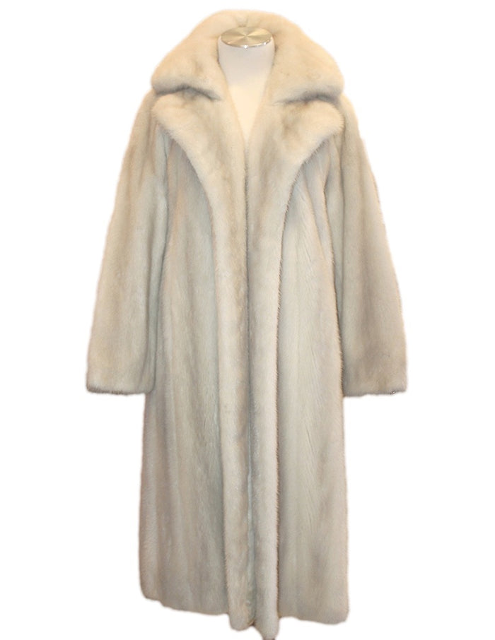 PRE-OWNED SMALL/MEDIUM LIGHT GRAY VIOLET MINK FUR COAT w/LEATHER BELT - from THE REAL FUR DEAL & DAVID APPEL FURS new and pre-owned online fur store!