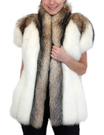 PRE-OWNED MEDIUM/LARGE WHITE SHADOW FOX & CRYSTAL FOX FUR CAP SLEEVED VEST! - from THE REAL FUR DEAL & DAVID APPEL FURS new and pre-owned online fur store!