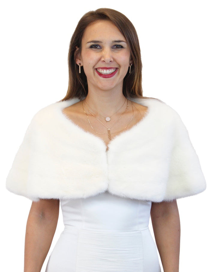 WHITE MINK FUR HORIZONTAL CAPELET, WEDDING, BRIDAL FUR - from THE REAL FUR DEAL & DAVID APPEL FURS new and pre-owned online fur store!