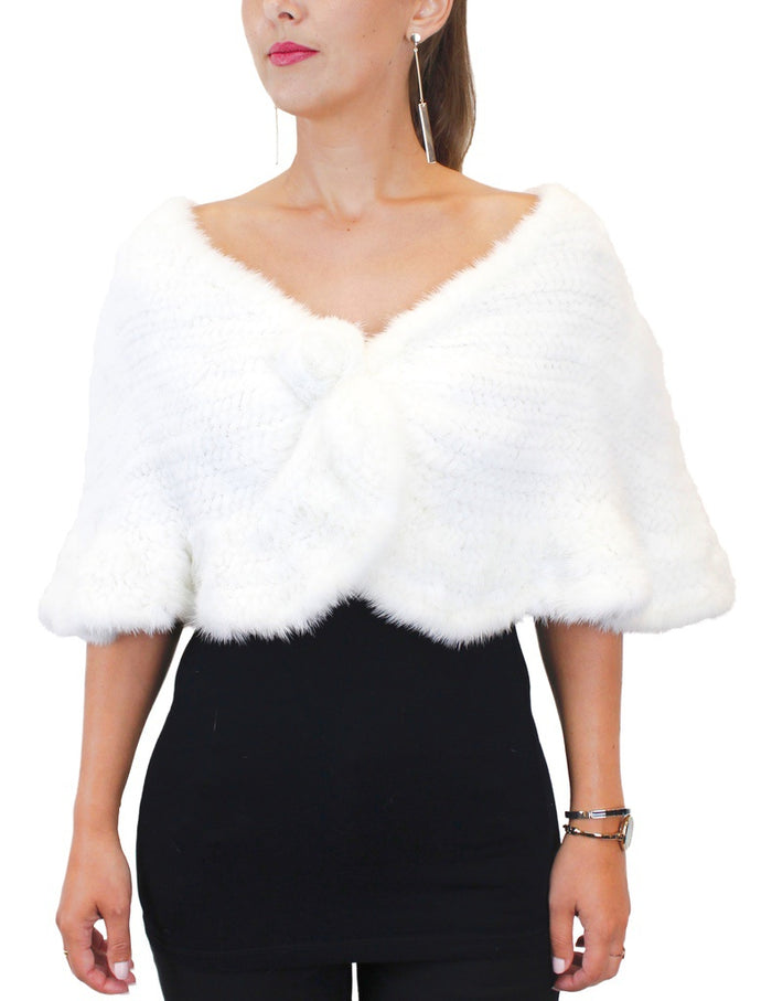 KNITTED WHITE REX RABBIT FUR RUFFLED CAPELET, SHAWL - from THE REAL FUR DEAL & DAVID APPEL FURS new and pre-owned online fur store!