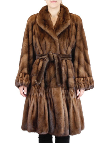PRE-OWNED MEDIUM/LARGE WILD TYPE BROWN MINK FUR DIRECTIONAL SWING COAT