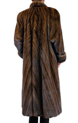 PRE-OWNED XL <b>MARY MCFADDEN</b> MAHOGANY UMBER DUSK LONG MINK FUR DIRECTIONAL COAT, BROWN - from THE REAL FUR DEAL & DAVID APPEL FURS new and pre-owned online fur store!