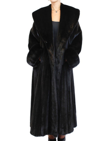 LONG BLACK GLAMA FEMALE MINK FUR ROBE/SWING COAT W/ HUGE COLLAR & CUFFS! - from THE REAL FUR DEAL & DAVID APPEL FURS new and pre-owned online fur store!