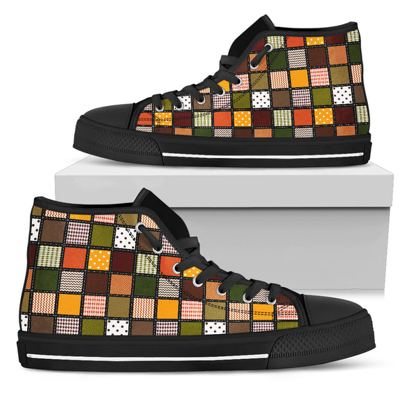 Fall Patchwork Womens High Top Shoes