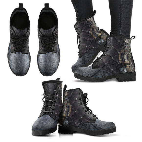 Steampunk Quilted Women's Eco-Leather Boots