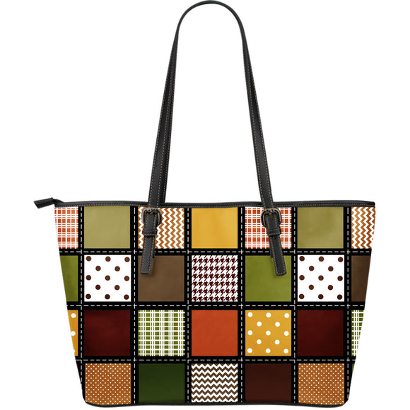 Fall Patchwork Large Eco-Leather Tote Bag